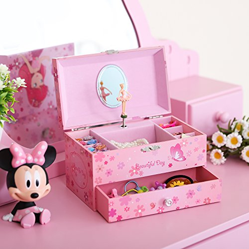 SONGMICS Musikspieldose, Spieluhr, Schmuckkästchen mit Schubladen und Spiegel, Aufbewahrung, Geschenk für Mädchen, rosa, JMC003PK - 3