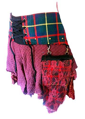 Genuine Designer Tartan Shabby Chic Punk Skirt - Size S/M