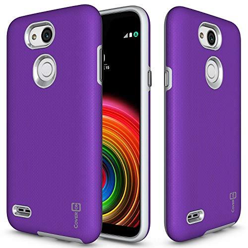 coveron [Rugged Serie] LG X Power 3Fall, Tough Schutz, Handy Cover mit Easy-Press-Metall Tasten für LG X Power 3, Violett (Kind Handys Att)