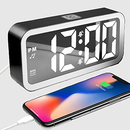 IKEAN Digital Alarm Clock Portable Mirror HD LED Time with White Noise Machine/Temperature/Snooze and USB Charging Port,3 Brightness,Suitable for Bedroom, Office, Travel (Alarm Machine Clock Noise)