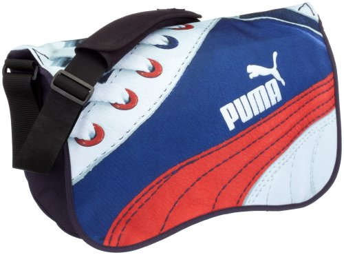 Puma, Borsa a spalla donna Blu new navy-shoe print on flap 40 cm Blu - new navy-shoe print on flap