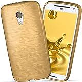 moex Motorola Moto G2 | Hülle Silikon Gold Brushed Back-Cover TPU Schutzhülle Ultra-Slim Handyhülle für Motorola Moto G 2. Generation Case Dünn Silikonhülle Rückseite Tasche