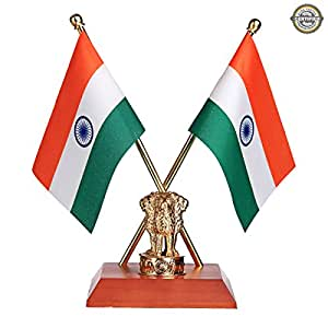 Buy The Flag Shop Indian National Table Flags With A Shiny 18k Gold Plated Brass Emblem Of India