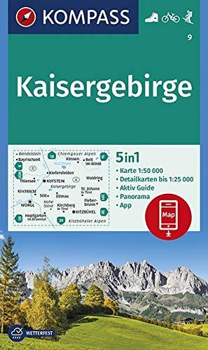 KOMPASS Wanderkarte Kaisergebirge: 5in1 Wanderkarte 1:50000 mit Panorama, Aktiv Guide und Detailkarten inklusive Karte zur offline Verwendung in der ... 1:50 000 (KOMPASS-Wanderkarten, Band 9)