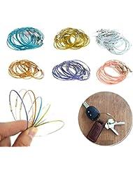 Forfar 5pcs Wire Keychain Porte clés en fil Cable Keying Fermoir à vis en acier inoxydable Verrouiller au hasard Accessoires unisex Pour la randonnée