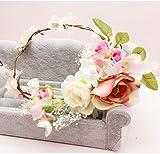 ZGP &Kopfschmuck Krone Blumen-Kranz, Stirnband-Blumen-Girlande-Handgemachtes Hochzeits-Braut-Partei-Band-Stirnband Wristband Hairband (Farbe : B)