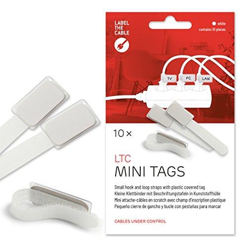 Label-the-cable Kabelbeschriftung mit Klettband, Klettbinder (Klettverschluss) mit Beschriftungsfeld, Kabelkennzeichnung, Kabelmarkierer, Kabeletikette/ LTC MINI TAGS, 10 Stück, Weiß, LTC 2520 (Label System)