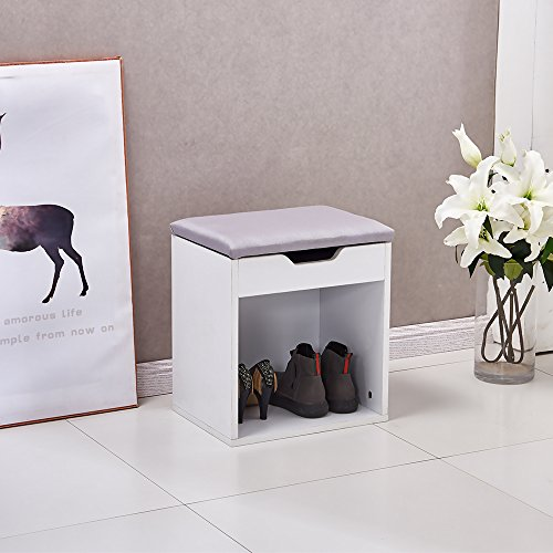 OSPI Zapatero Banco de Almacenamiento para Zapatos Zapatero Plegable con Asiento Acolchado Color Blanco...