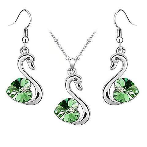 Jewelry Set Swan Pendant Necklace + Dangle Earring Heart Shaped Swarovski Peridot Green Crystal