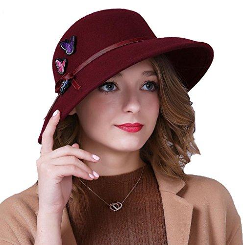 WE&ZHE Chapeau de feutre de laine féminin fashion Bowler large bord rétro Cap papillon décorer broderie automne et hiver deep