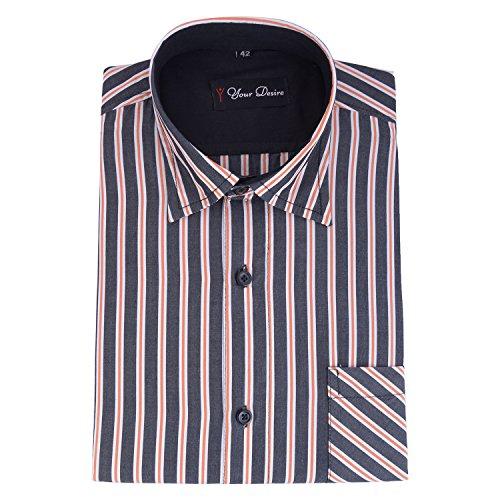 Your Desire Shirts Men Cotton Black and Orange Formal Shirt (Size 40)