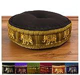 Zafukissen Seide mit Kapokfüllung, Meditationskissen bzw. Yogakissen, rundes Sitzkissen / Bodenkissen (dunkelbraun-gold / Elefanten)
