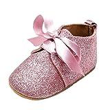 BZLine® Soft PU Paillettes Chaussures au lacet, Chaussures de Premier pas pour Bébés Filles 0-18Mois (12-18Mois, Pink)
