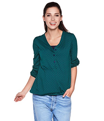 Be! Mama Umstandsshirt, Stillshirt mit Gummibund unten, Modell: FLORA, grün, L