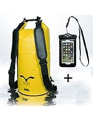 HAWK Outdoors Dry Bag - wasserdichter Packsack mit gepolsterten Schulter-Gurten inklusive wasserdichter Handy-Hülle - 30L/20L/10L - Stausack Seesack - Wasserfester Rucksack - Kajak, Rafting, Segeln
