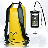 HAWK Outdoors Dry Bag- wasserdichter Packsack mit gepolsterten Schulter-Gurten inklusive wasserdichter Handy-Hülle - Stausack Seesack - Wasserfester Rucksack - Kajak, Rafting, Segeln, Surfen- 20L, Gelb