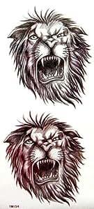 Les hommes autocollants de tatouage imperméables tête de lion rugissant avec un MicroDeal® Piece chiffon de nettoyage marques par ordre