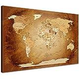 LanaKK - Mapamundi MARRÓN - ESPAÑOL - Imagen Mapa del mundo de la lona XXL tierra continentes marrón de África Nueva York (100 x 70 cm, una pieza, marrón)