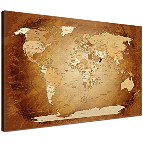 LanaKK - Mapamundi MARRÓN - ESPAÑOL - Imagen Mapa del mundo de la lona XXL tierra continentes marrón de África Nueva York (100 x 70 cm, una pieza,