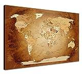 LanaKK mapamundi con Corcho para Fijar los destinos - Lámina sobre Bastidor Camilla en marrón, Enmarcado en una Parte, 120 x 80 cm, español