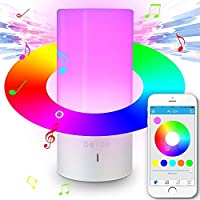 Table lamp with Bluetooth Speaker, Smartphone Control & Touch Sensor Bedside Lamp With Dimmable RGB Color Changing White Warm Light Night Lamp for Living Room and Bedroom–EU