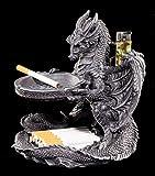 Aschenbecher Drachen Figur mit Feuerzeughalter und Ablage | Gothic Deko