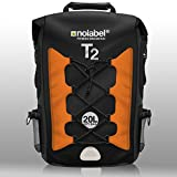 Black & Orange Waterproof Rucksack – Sports Bike Backpack T2 Transition Bag 20 Litre Shoulder Bag is 100% Waterproof. Sports Daypack for Cycling, Running, Triathlon and Watersports. Protects from Dust, Sand, Water & Dirt