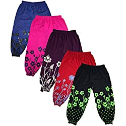 T2F Kids Girls Printed Harem track Pants (Pack of 5)- Red- Black-Blue-Rose-Purple (2-3 Years, Multicolor)