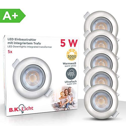 Objektiv-halogen-licht (LED Einbauleuchten schwenkbar ultra flach inkl. 5x LED-Modul 5W 450lm 3000K warmweiß Einbaustrahler Matt Nickel IP23)