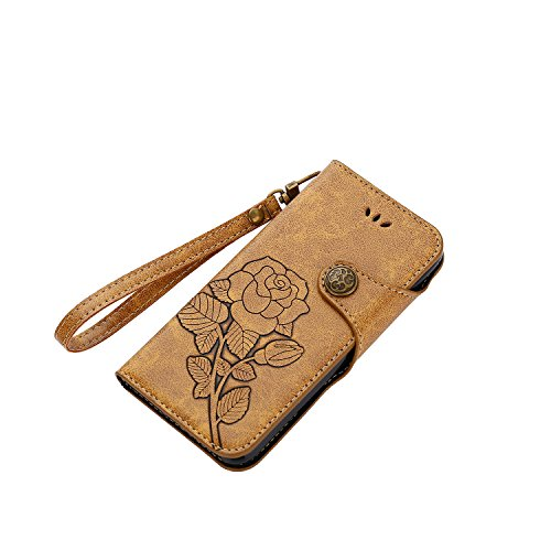 iPhone 8 Hülle, iPhone 7 Hülle, iPhone 8 / iPhone 7 Lederhülle, iPhone 8 / iPhone 7 Hülle Brieftasche, BONROY [Premium Leder Serie] Retro Rosen Muster Rosa Handyhülle Schutzhülle PU Leder Flip Tasche  Rosen-Khaki
