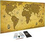 WIDETA Mappa del mondo da grattare Vintage, XXL (82 x 43 cm)/ Carta patinata extra speso 300 g/m² e laminata con pellicola protettiva/ Bonus accessori