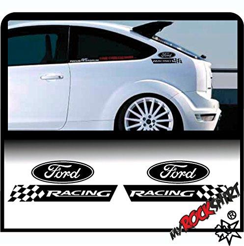 2x Ford Racing 30 x 10 cm Aufkleber Autoaufkleber Auto Tuning Sticker Aufkleber mit Montage Set inkl.