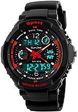 sunjas Digital Reloj de pulsera LED reloj deportivo cronómetro Despertador impermeable reloj de cuarzo bolsillos Relojes