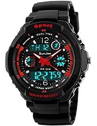 SunJas 50 M Montre Sport Étanche avec Lumière LED Numérique Bracelet avec Écran LCD Multifonctions Chronomètre Alarme Mostración Noctilucentes de la Date et du Temps. rouge
