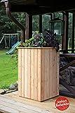 Apila Hochbeet V 60x60x100cm aus Lärchenholz Teilmontiertes Garten-Möbel mit Unkrautvlies und Lüftungsschlitzen Echtholz zum Discountpreis