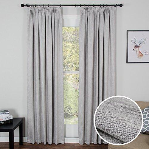 Top Finel Blickdichte Gardinen Mit Kräuselband Vorhänge für Schlafzimmer,2 stück, 200cm x 250cm(W x H), Grau