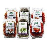 Bio Nudeln Probierpaket (6 x 250g) - 2x Rote Linsen, 2x Kichererbse-Kurkuma und 2x Grüne Erbse - mind. 20% Protein - Glutenfrei - Vegan
