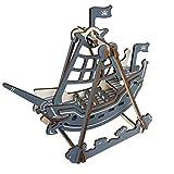 HYwot Hölzernes Dreidimensionales Puzzle, DIY Handmontiertes Piratenschiff-Modell, Pädagogisches Spielzeug Für Kinder, Pflegen Die Praktische Logische Denkfähigkeit Der Kinder,Pirateship