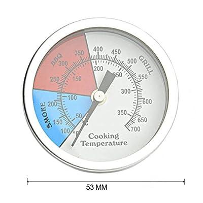 Onlyfire Edelstahl Grillthermometer bis 350°C/700°F, Ø 53 MM, Thermometer für alle Grills, Ofen, Smoker, Räucherofen und Grillwagen, analog, Grillzubehör (Anzeige: Celsius und Fahrenheit)