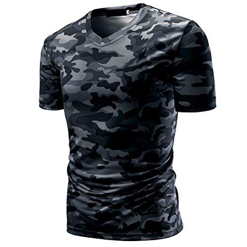 ASHOP Tank Top Sweatshirt für Männer, Herren V-Neck Slim Fit Camouflage-Druck T-Shirt (XXXL, Dunkelgrau)