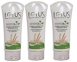 Lotus Herbals WhiteGlow Oatmeal and Yogurt Skin Whitening Scrub 100g (Pack of 3)