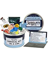 Anniversary Survival Kit In A Can. Humorous Novelty Gift - Male Anniversary or Wedding Anniversary Present & Card All In One. Gifts For Him/Gifts For Men. Boyfriend, Fiance, Friend, Husband, Partner. Customise Your Can Colour. (Blue/Navy)