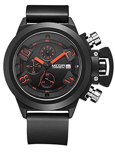 MEGIR Chronograph Silicone Men Sport Watch