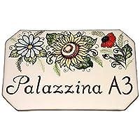 CERAMICHE D'ARTE PARRINI- Ceramica italiana artistica numero civico in ceramica 20x13 personalizzato decorazione girasole e fiori , mattonella fatta a mano made in ITALY Toscana