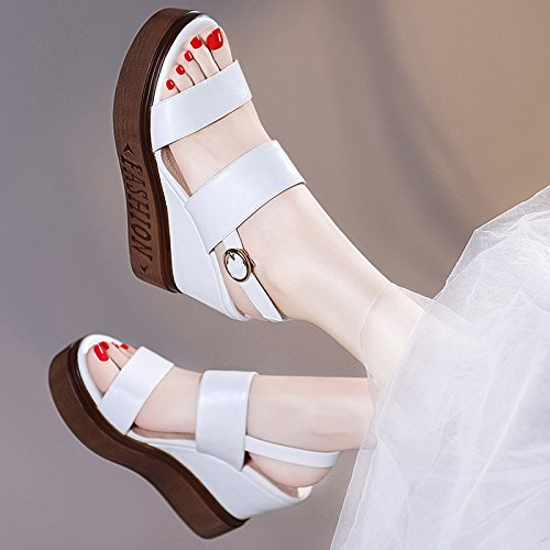 e Schuhe Die neuen Dicken Kiefer Kuchen Schuhe Hang mit Sandalen weiblichen Wild Dicke High-Heeled Sommer Damen Schuhe Weiß 35 (Clark Schuhe Weiblich)