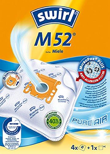 Swirl M 52 AirSpace Staubsaugerbeutel für Miele Staubsauger, saugstark, verschließbare Halteplatte, 4 Beutel + 1 Filter
