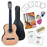 Classic Cantabile AS-861 Konzertgitarre 7/8 Starter-Set (akustische Klassikgitarre, geeignet für Kinder ab 10-13 Jahren, Tasche, Saiten, Noten, Plektren, Stimmpfeife) natur