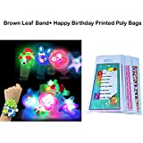 Brown Leaf® Led Light Mix Design Band Kids Favourite Bracelet Birthday Gift Rakhi (Set Of 12, With Happy Birthday Printed Poly Bags)