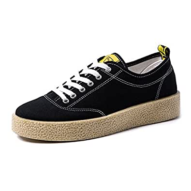 Yaojiaju Canvas Sneakers, Casual Lace up Loafers Flache Sportschuhe Low Top Strong Outsole Schwarz-Weiß-Farben Freizeit Turnschuhe für Männer (Farbe : White, Size : 40 EU)