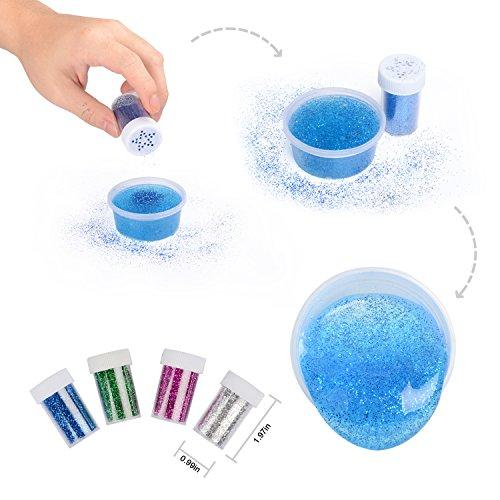 DIY Slime Kit  6 paquetes de barro de arcilla de cristal con bolas de espuma de colores 5000PCS  2500PCS decoración de la cara de frutas  4 botellas de batidor de brillo de glitter  juguetes